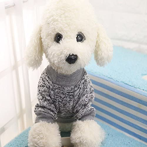 Idepet Pet Dog Classic Knitwear Sweater Fleece Coat Soft Thickening Warm Pup Dogs Shirt Winter Pet Dog Cat Clothes Puppy Customes Clothing for Small Dogs (Read The Size Chart First) 49