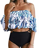 Tempt Me Women Two Piece Off Shoulder Ruffled Flounce Crop Bikini Top with Print Cut Out Bottoms White Leaf XL