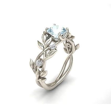 LnLyin Women's Floral Ring Flowers Finger Rings Transparent Aquamarine  Diamond Jewelry Lucky Flower Vine Leaf Birthday Proposal Gift Bridal  Engagement