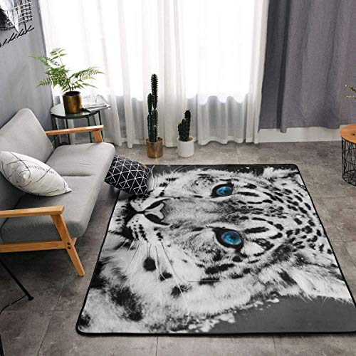 (Memory Foam Kitchen Rug for Hotel Playroom Dorm Room, Non-Slip Backing Floor Pad Rugs Comfort Throw Rugs Carpet, Anti Fatigue, Black and White Snow Leopard Cheetah Patterned Nursery Rugs)