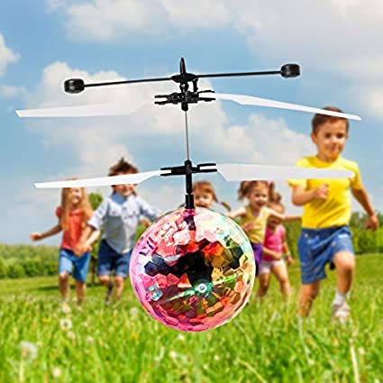 Crystal Flashing Hand-Controlled Infrared Induction Flying Toys with LED Light,Rechargeable Light up Sensor,Colorful Flying Helicopter Toys,Suitable for Kids Flying Ball Teenagers(White) Teenagers/(White/) BOPEN .