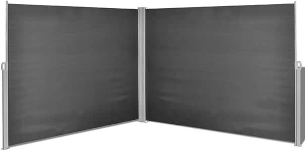 vidaXL Toldo Lateral Retráctil Acero y Tela 180x600cm Negro Biombo ...