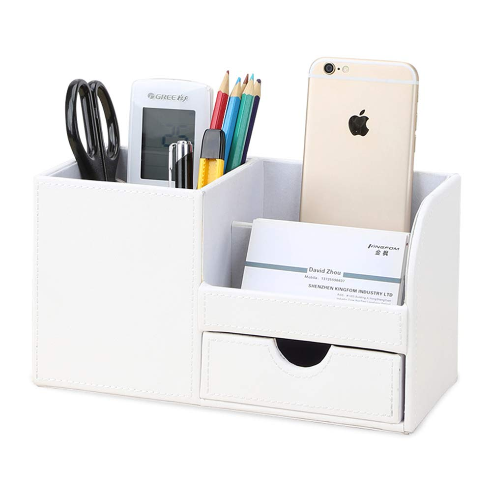 KINGFOM Multifunctional Desk Organizer Pencil Holder 3 Compartments with Drawer Cell Phone Box White by KINGFOM