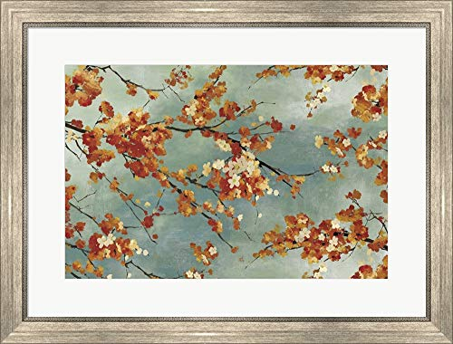 International Silver Orange Blossom - Orange Blossom by Posters International Studio Framed Art Print Wall Picture, Silver Scoop Frame, 29 x 22 inches