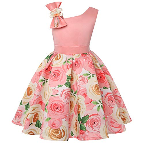 One Shoulder Printed Dress for Girls Princess Flower Wedding Pageant Party -