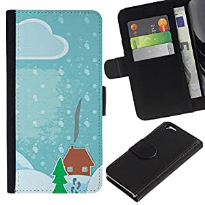 UberTech / Apple Iphone 6 4.7 / Winter Drawing Kids Christmas Snow Blue / Cuero PU Delgado caso Billetera cubierta Shell Armor Funda Case Cover Wallet Credit Card