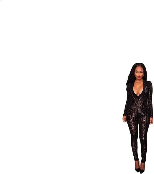 Femme Noir Noir Combinaison GGTBOUTIQUE