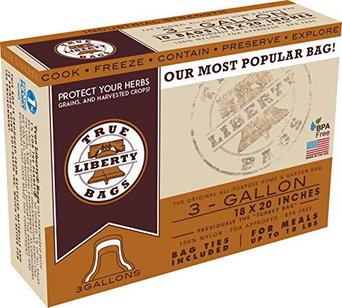 True Liberty Bags - 3-Gallon - 10 Pack - All Purpose Bags For Oven, Freezer & Refrigerator - Fish, Meat, Poultry, & Herbs Bags - Industrial Strength FDA Approved Baking & Roasting Bags - 18