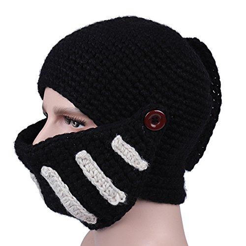 Roma Gorra tejido Sombrero Negro Gladiador Caballero masculina a Invierno mano Tejer Máscaras RRzafnw