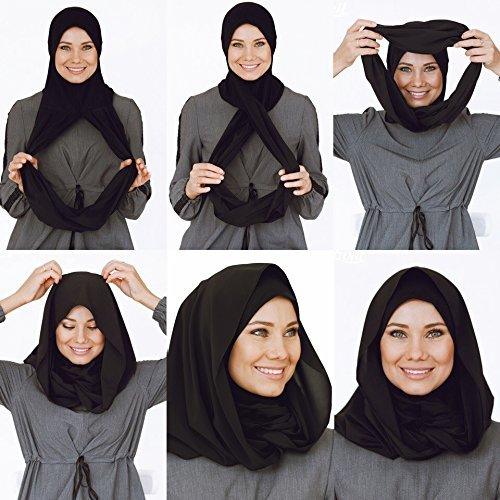 Cotton and Shiffon head scarf, instant black hijab, ready to wear muslim accessories for women by VeilWear (Image #3)