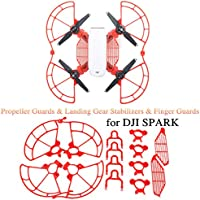 Protection Combo Including Propeller Guards & Landing Gear Stabilizers & Finger Guards for DJI SPARK (Red)
