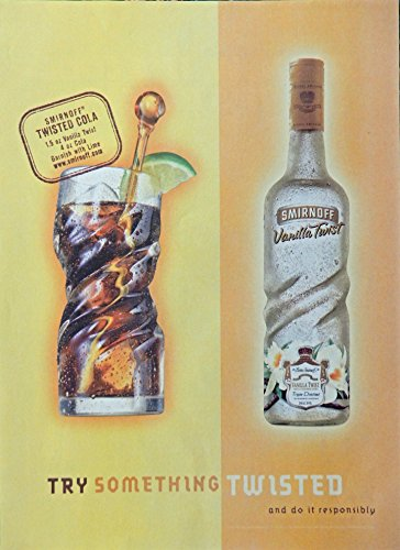 Original Vodka (Smirnoff Vodka, Print Ad. Full Page Color Illustration (twisted cola) original Magazine Art)
