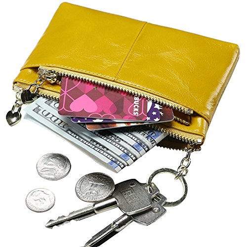 Itslife Triple Zipper Leather Mini Coin Purse Card Holder with Key Chain (yellow)