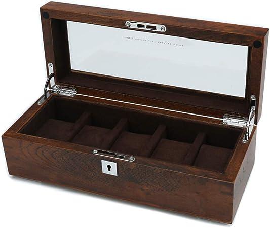 Caja de Relojes Estuche Reloj Caja De Madera Caja De PresentacióN De Almacenamiento 5 Ranuras Pura