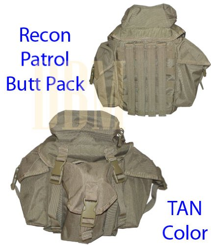 Military Molle Tactical Recon Patrol Butt Pack Bag Tan by Generic