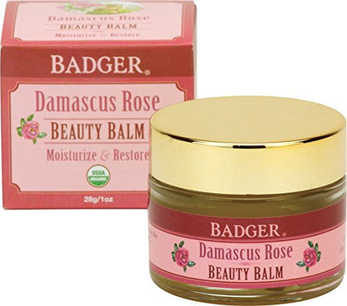 Rose Body Balm - Badger Damascus Rose Beauty Balm - 1 oz Glass Jar