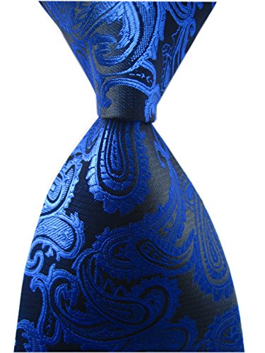 Tie Modern Dress (Mens Narrow Royal Blue Black Tie Adult Formal Sunny Self Modern Necktie Dad Gift)
