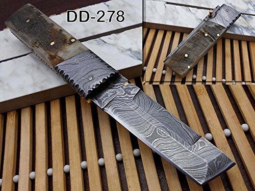 Damascus steel Tanto blade Folding Knife, Natural Ram horn scale with Damascus bolster, Cow hide leather sheath with belt loop, equipped with Thumb knob & liner lock (Ram Horn) -