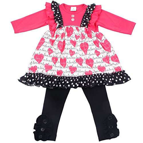 Baby Girls 2PCS Heart Printed Cotton Ruffle Dress Pants Clothing Set for 2-8 Years Little Girls 4T