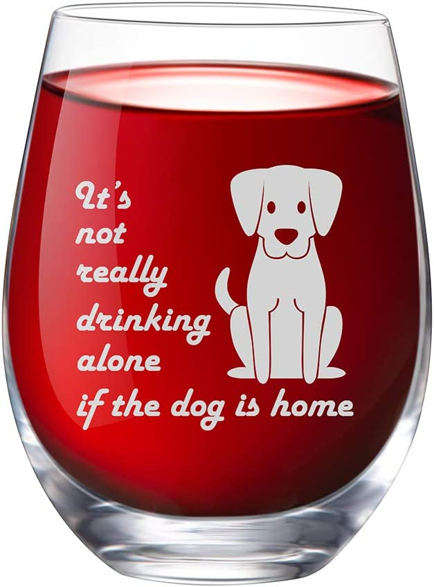 IFOLAINA Stemless Wine Glass 15 oz Novelty Crystal Cup with Sayings It's not Really Drinking Alone if the Dog is Home, Perfect Dog Lover Gift