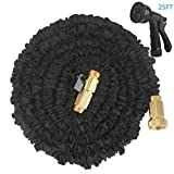 WEINAS Expandable Garden Hose 25ft Flexible Water Hose With Solid Brass Fittings & 8 Patterns Spray Nozzle - Black