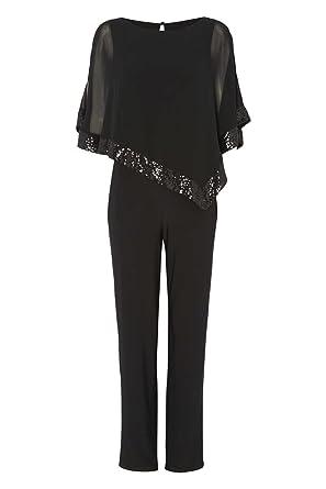4c1e2a79a343 Roman Originals Damen Jumpsuit mit Paillettenbesatz Overlay - Damen runder  Halsausschnitt, Dreiviertelärmel, zum Ausgehen, Party, Cocktails, Clubwear,  ...
