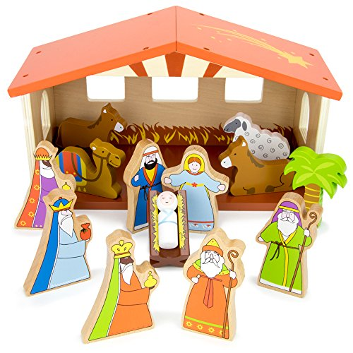 O Holy Night Wooden Nativity Set - 14-piece Christmas Holiday Traditional Nativity Playset with The Holy Family, Three Wise Men, Animals, and Manger by Imagination Generation
