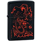 Dragon Red Symbols Black Matte Zippo Lighter