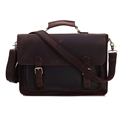 CHAO.P.J Crazy Horse Genuine Leather Briefcase Messenger Bag Laptop Shoulder Tote Bag