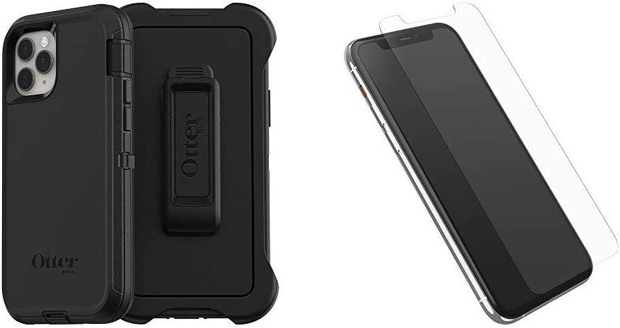 OtterBox Defender Series SCREENLESS Edition Case for iPhone 11 Pro - Black Bundle with OtterBox Alpha Glass Series Screen Protector for iPhone 11 Pro - Clear