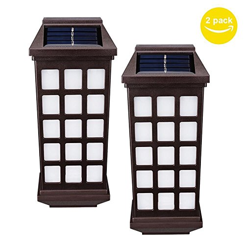 Zehui Waterproof Outdoor Solar-Powered Wall Lamp Yard Fence Stair Street Light Decoration 2PCS Warm White