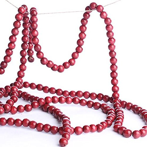 (Factory Direct Craft Burgundy Cranberry Color Wooden Bead 9 Foot Christmas Garland - The Look of Strung Cranberries)