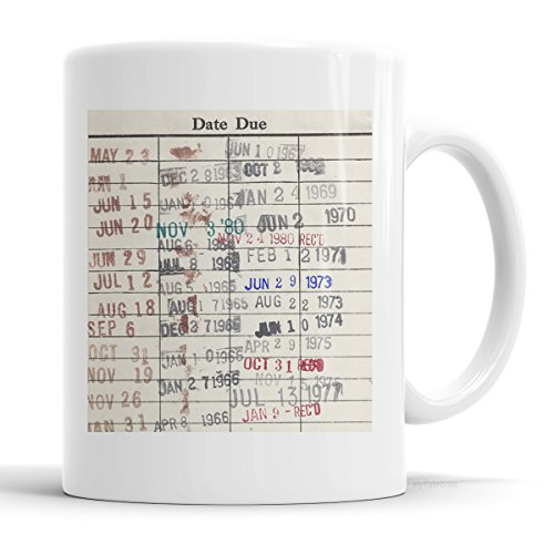 Library Due Date Card Coffee Mug - Gift for readers, librarians