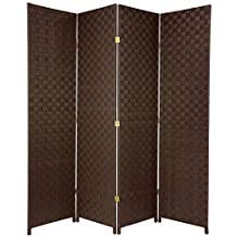 Oriental Furniture 6-Feet Tall Woven Fiber Outdoor All Weather Room Divider 4 Panel Dark Brown