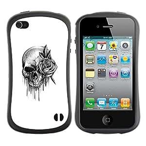 LASTONE PHONE CASE / Suave Silicona Caso Carcasa de Caucho Funda para Apple Iphone 4 / 4S / skull rose rock roll death metal ink