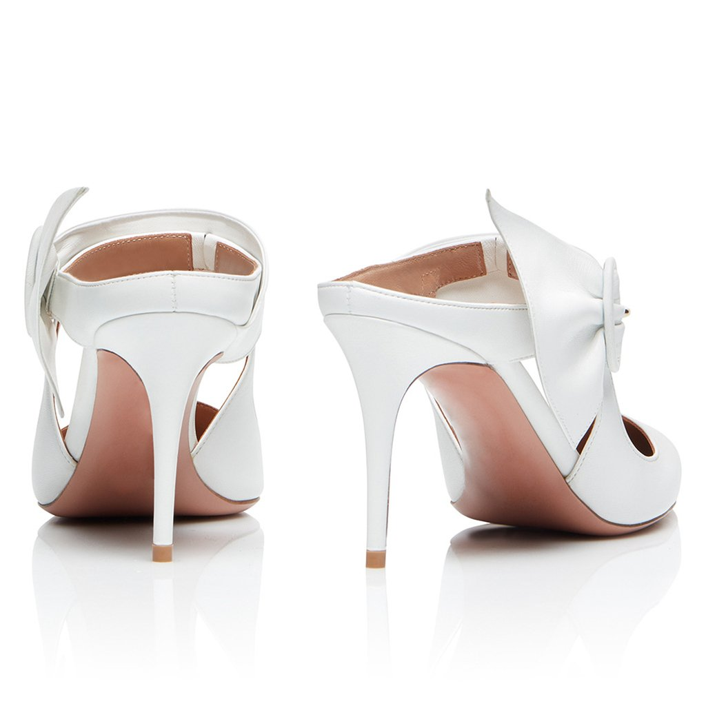Womens White Pointed Dew with High Heel Single Shoes Muller Shoes Fashion Shoes Wedding Shoes Heel Height:11-13cm