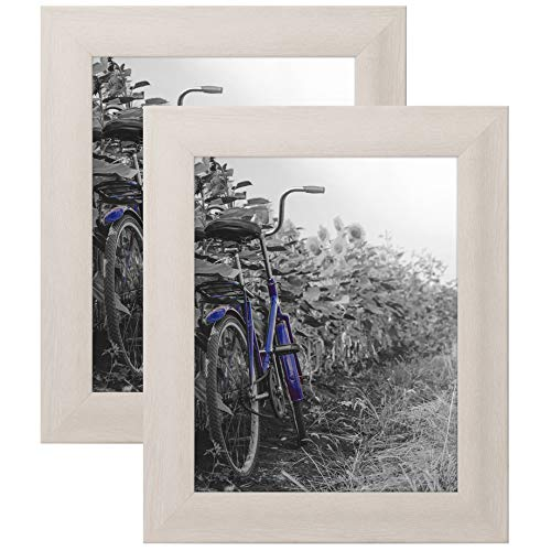 Americanflat 2 Pack - 8x10 White Rustic Picture Frames with Easels - Wall Display - Tabletop Display