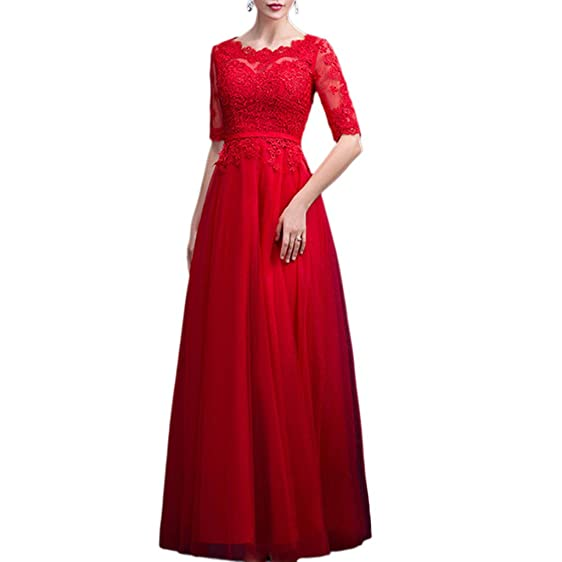 Amazon.com: Ingsist Women\'s Elegant Evening Dresses Half Sleeves ...
