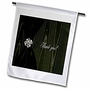 Beverly Turner Thank you Design - Satin Ribbon with Jewel on Moire, Sage Green - 18 x 27 inch Garden Flag (fl_40400_2)