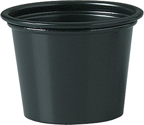 Solo Plastic 1.0 oz Black Portion Container for Food, Beverages, Crafts (Pack of 250)
