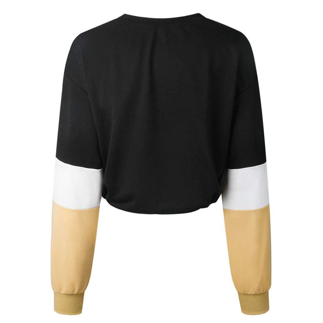 56dbe4c8198e T-Shirt Damen Langarmshirt Elegant Sweatshirt Frauen Pullover Loose ...