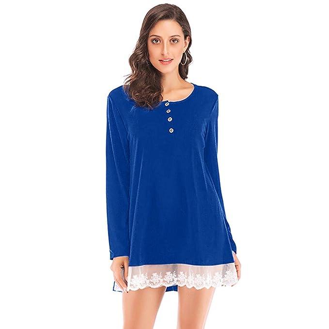 Luckycat Blusas Camisa Falda Mangas Largas Encaje para Mujer: Amazon.es: Ropa y accesorios