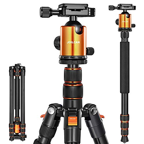 Joilcan 80-inch Tripod for Camera, Aluminum Tripod for DSLR,Monopod, Lightweight Tripod with 360 Degree Ball Head Stable for Travel and Work 18.5-80,19lb Load (Orange)
