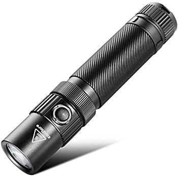 USB Rechargeable Tactical LED Flashlight, Zanflare F1 Flashlight with 7 Light Modes, IP68 Waterproof, Cree XP-L V6 1240 Lumen Torch with Safety Hammer, Battery Not Included, Cool White