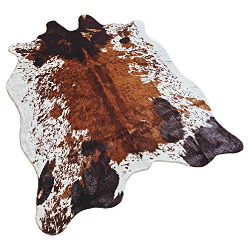 Jaye Large Size Faux Fur Cow Print Rug 4.9x6.6 Feet Faux Cowhide Skin Rug Animal Printed Area Rug Carpet for Home Office Livingroom,Bedroom. (Cow)
