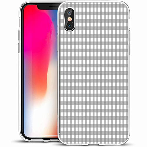 VivYES Protective Phone Case Design for iPhone X/XS 5.8,Check Abstract Gray Gingham Pattern Baby Boy Child Cute Design Girl,Anti-Scratch Soft Rubber Gel/TPU