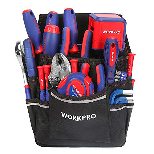 11 Pocket Tool Belt - WORKPRO Maintenance Tool Pouch, 11 Pockets, Professional Electrician's Belt Tool Holder with Reflective Strips, Organizer for Tools, Flashlights, Keys (Tools Excluded)