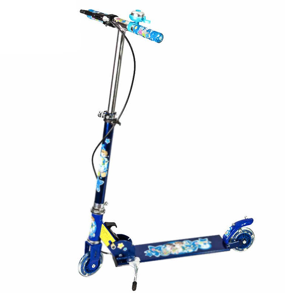 Barato Patinete Vespa Plegable del Retroceso de la Bicicleta del Principiante de la Vespa del Niño con el Freno de Mano (Color : Blue)