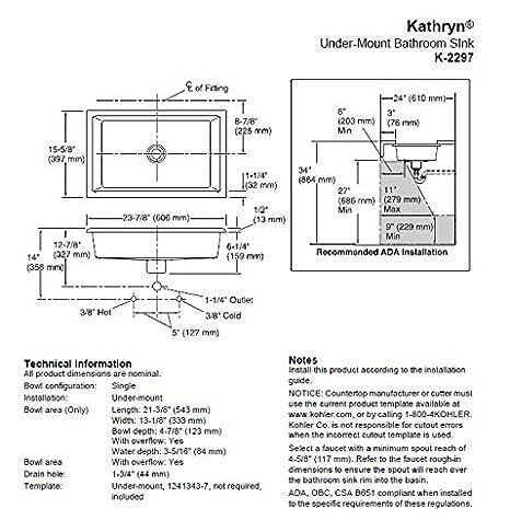 KOHLER K-2297-0 Kathryn Undercounter Bathroom Sink, White - Bathroom ...