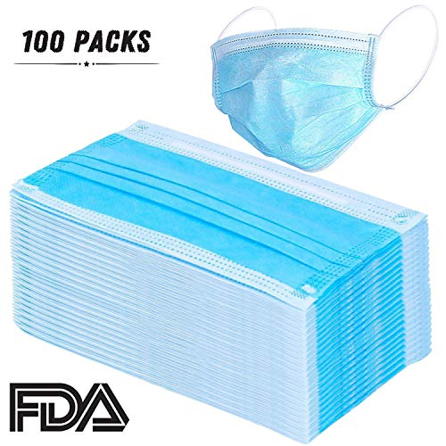 100 Pcs Disposable Earloop Face Masks Dental Surgical Hypoallergenic Breathability Comfort-Great For People With Allergies And The Flu